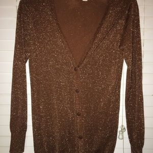 Forever 21 Sparkly Bronze Cardigan Size M